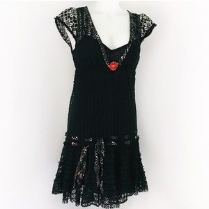 NWOT Free People Black Lace Dress Ribbon Detail